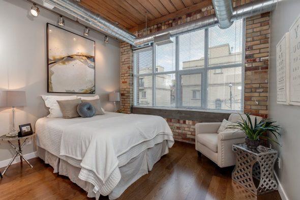 Индустриальный стиль в спальне