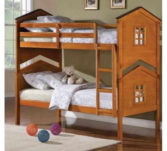 Деревянная двухъярусная кровать Теремок