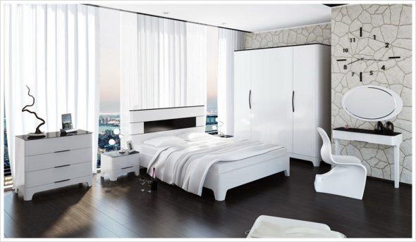 Глянцевая мебель для декорирования спальни
