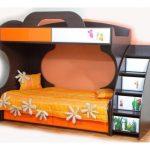 Двухъярусная кровать Пионер МДФ c подкроватными ящиками на роликах