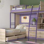 Двухъярусная кровать с расположением кроватей под углом