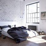 Хороший вариант оформить спальню в стиле лофт в черно-белых тонах