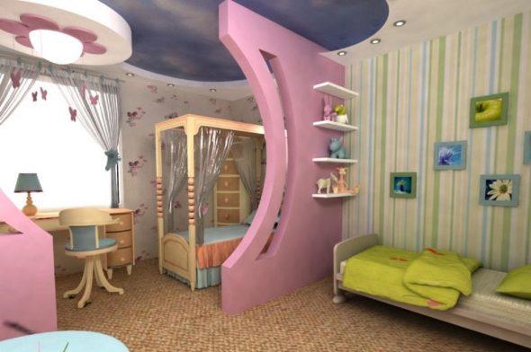 Использование зонирования в детской комнате