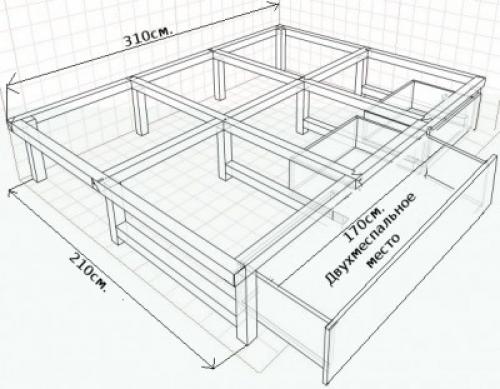 Каркас выездной кровати-подиум