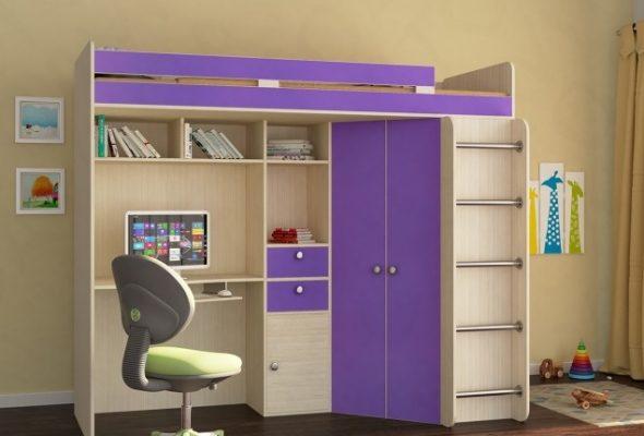 Фиолетовая кровать-чердак