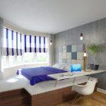 Кровать подиум с мягкой оббивкой и изголовьем в стиле пэчворк
