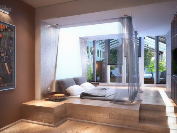 Кровать подиум со спальным местом сверху