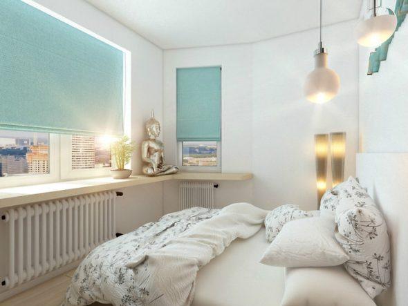 Малогабаритная спальня выполненная в белых тонах