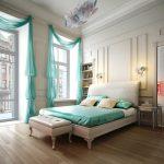 Мягкая кровать в бело-бирюзовой спальне