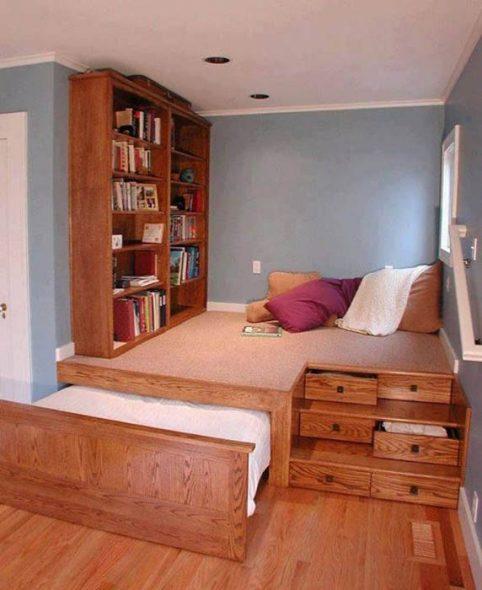 Обшивка кровати подиума деревом