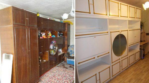 Стенка в гостиную до и после