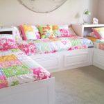 П образная расстановка кроватей для трех девочек