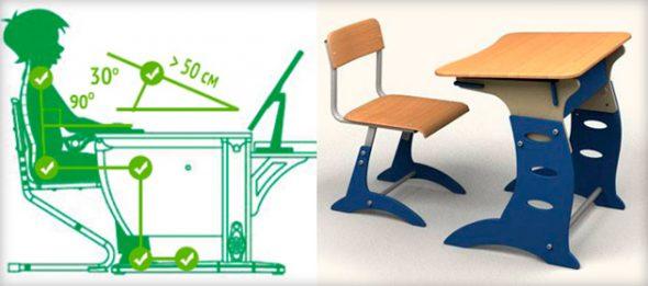 Параметры выбора стола и стула