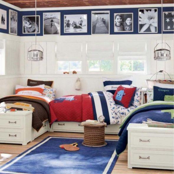 Расположение детских кроватей буквой П