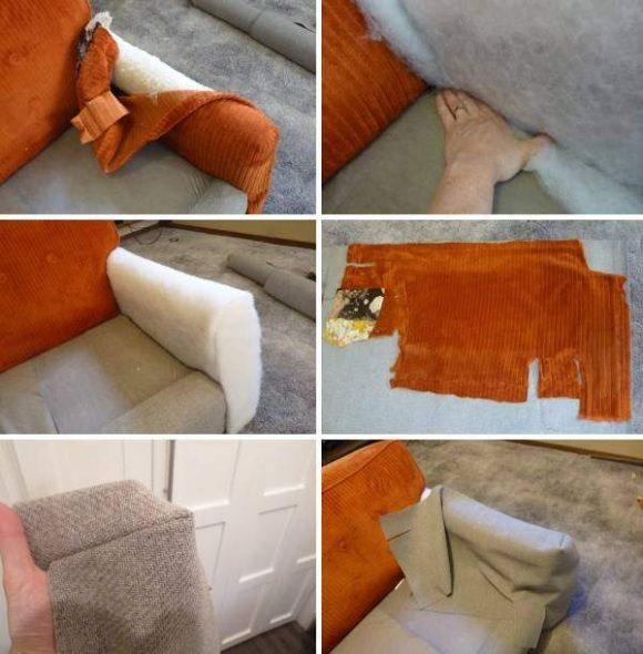 Ремонт дивана своими руками - процесс перетяжки подлокотников