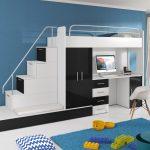 Стильная кровать на втором этаже для подростка