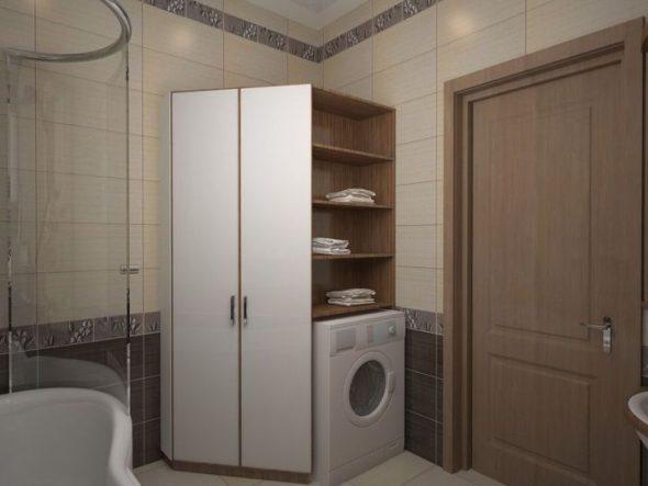 Угловой шкаф в ванной