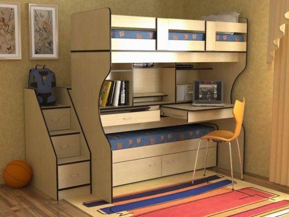Кровать чердак в комнате подростка