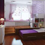 Выдвижная кровать в комнате девочки