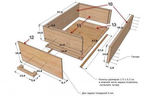 Ящики для столика