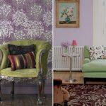 Зеленая мебель для гостиной с нежно-сиреневыми стенами
