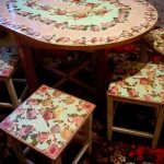 Декупаж обеденного комплекта мебели