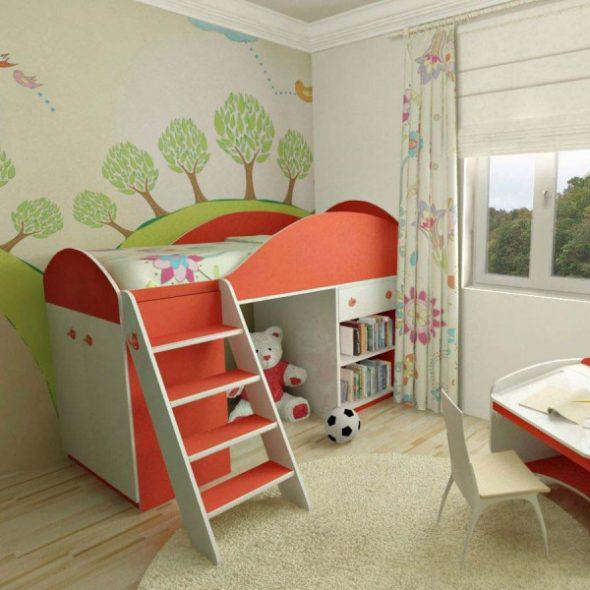 Кровать-чердак с боковой панелью
