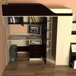 Кровать Квартет 2 с вместительным шкафом для одежды, и открытыми полками для книг и канцелярии
