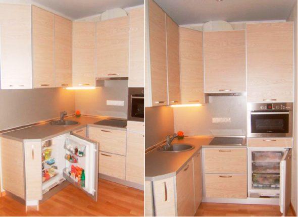 Холодильник и морозильник под столешницей