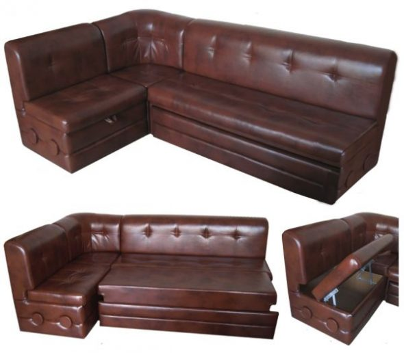 Угловой диван из кожзама