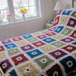 Пэчворк вязание крючком - покрывало на кровать