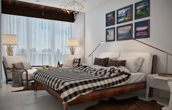 Покрывало и подушки на креслах в крупную и мелкую клетку