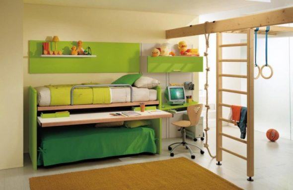 Современная двухъярусная кровать-трансформер