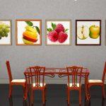 Тематические фото на стене кухни