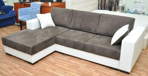 Угловой диван из замши