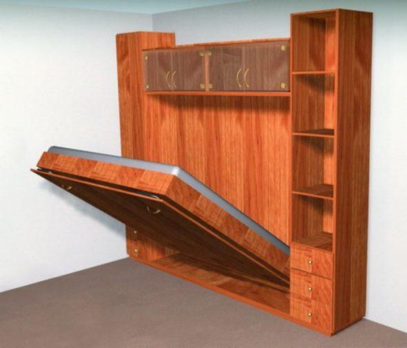 Встроенная кровать в шкаф из дерева