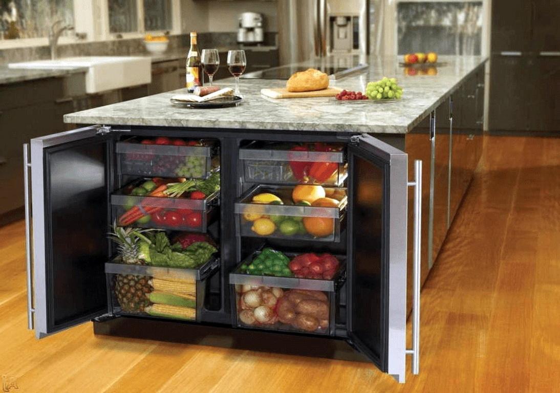 Встроенный двухкамерный холодильник в кухнях