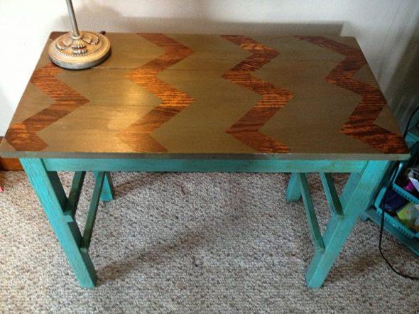 Окрашивание стола с рисунком