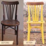 Красивые изогнутые стулья до и после реставрации