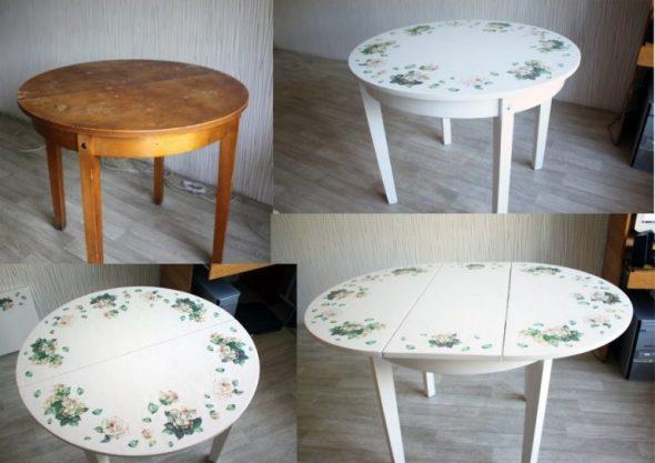 Круглый раскладной стол из дерева