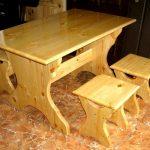 Лакированный столик с табуретками
