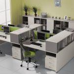 Офисный кабинет в серо-зеленых тонах