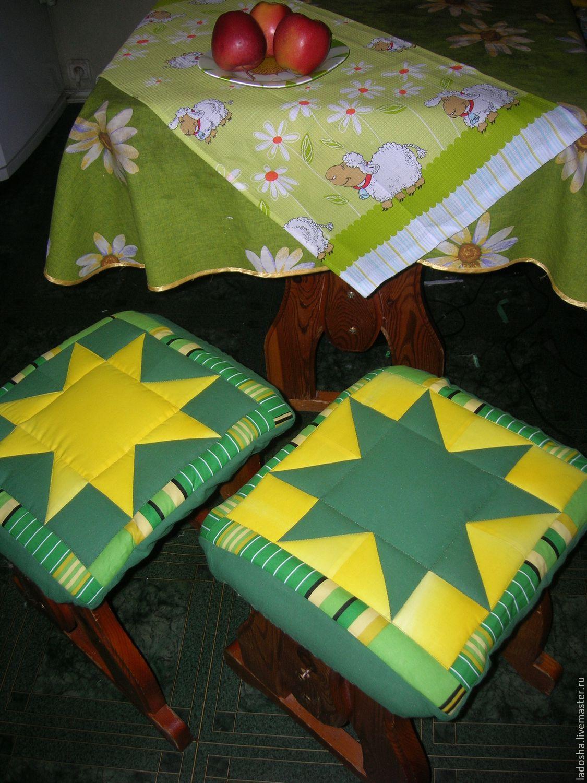 Подушка на стул в стиле пэчворк своими руками 447