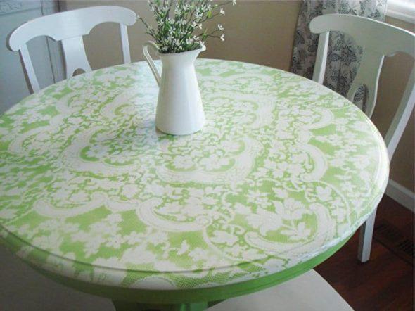 Покраску стола через тюль