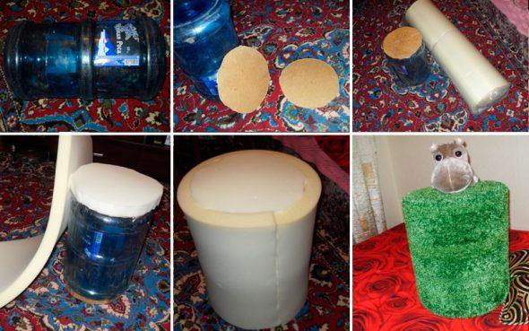 Как сделать пуфик из пластиковых бутылок своими руками 41