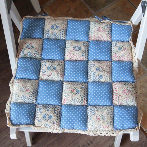 Подушка на стул в стиле пэчворк своими руками 899