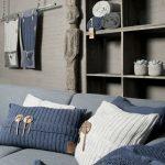Синий и белый декор для гостиной