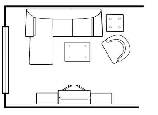 Схема расположения углового дивана