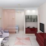 Зона гостиной отделена прозрачной шторкой от зоны отдыха