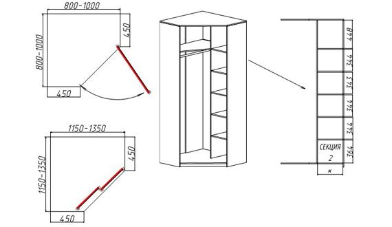 Угловой шкаф схема